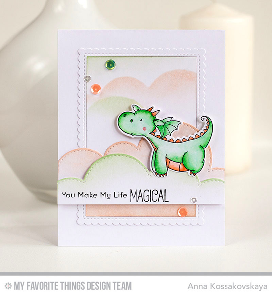 Handmade card from Anna Kossokovskaya featuring Birdie Brown Magical Dragons stamp set and Die-namics, Stitched Cloud Edges and Stitched Rectangle Scallop Edge Frames Die-namics #mftstamps