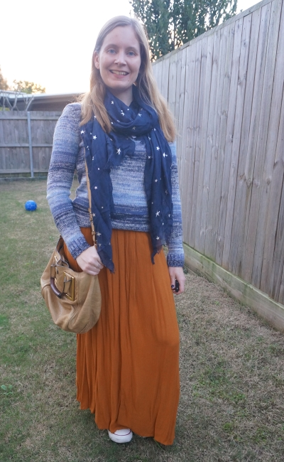 ochre maxi skirt with blue ombre stripe knit foil print star scarf in navy and chloe ethel bag | awayfromblue