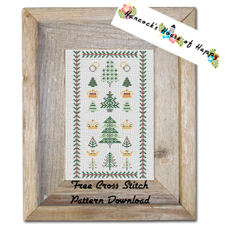Free Traditional Cross Stitch Sampler Pattern with Mini Cross Stitch Christmas Trees