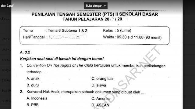 Soal PTS Kelas 5 Tema 6 Subtema 1 dan 2