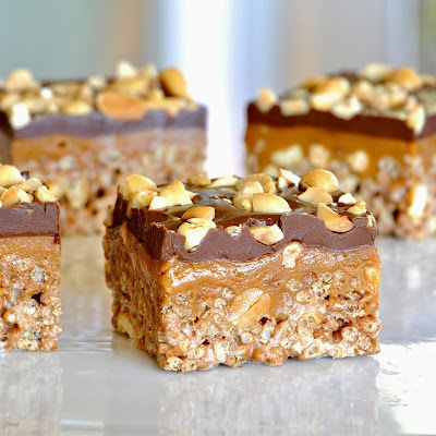 Chocolate Peanut Butter Caramel Crispy Treat