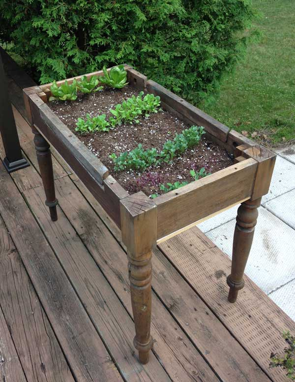 Cute Upcycled Lettuce table #creativegreenliving