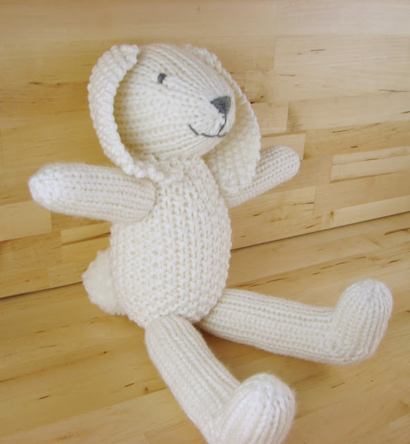 snowy bunny white rabbit knit toy stuffed animal