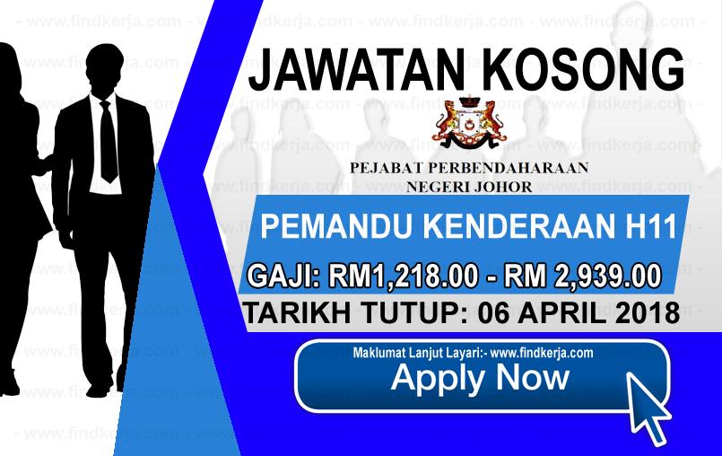 Jawatan Kerja Kosong Pejabat Perbendaharaan Negeri Johor logo www.findkerja.com april 2018