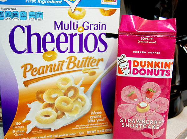 Multi grain peanut butter Cheerios and strawberry shortcake dunkin donuts instant coffee