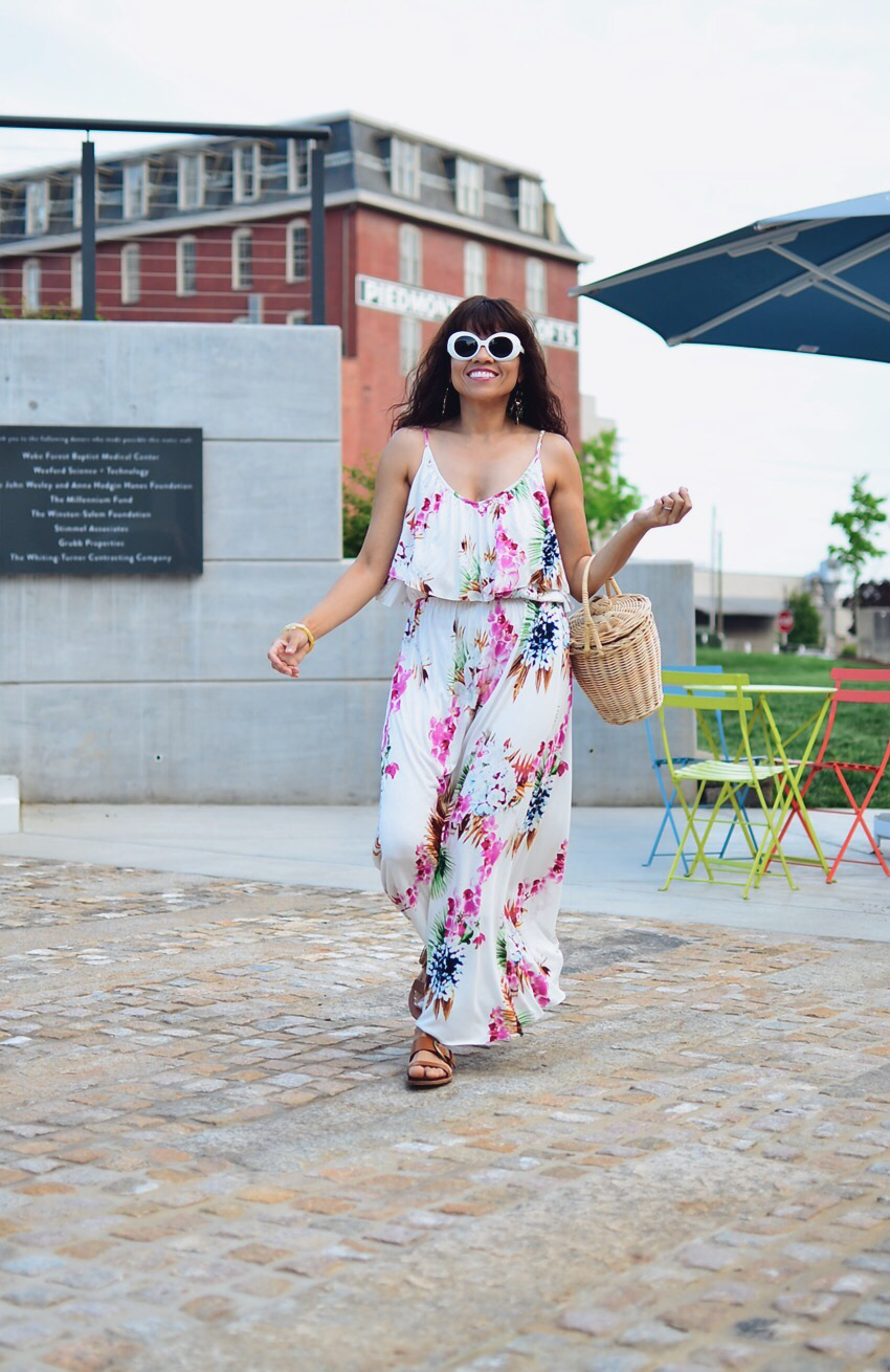 Floral maxi dress street style