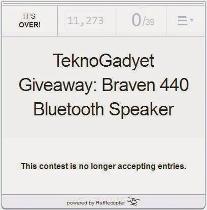TeknoGadyet Christmas Giveaway Number 1: Braven 440 HD Bluetooth Speaker Winner