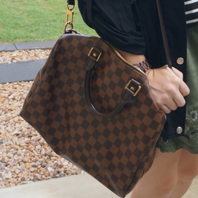 Louis Vuitton Damier Ebene 30 speedy bandouliere, black jacket | away from the blue