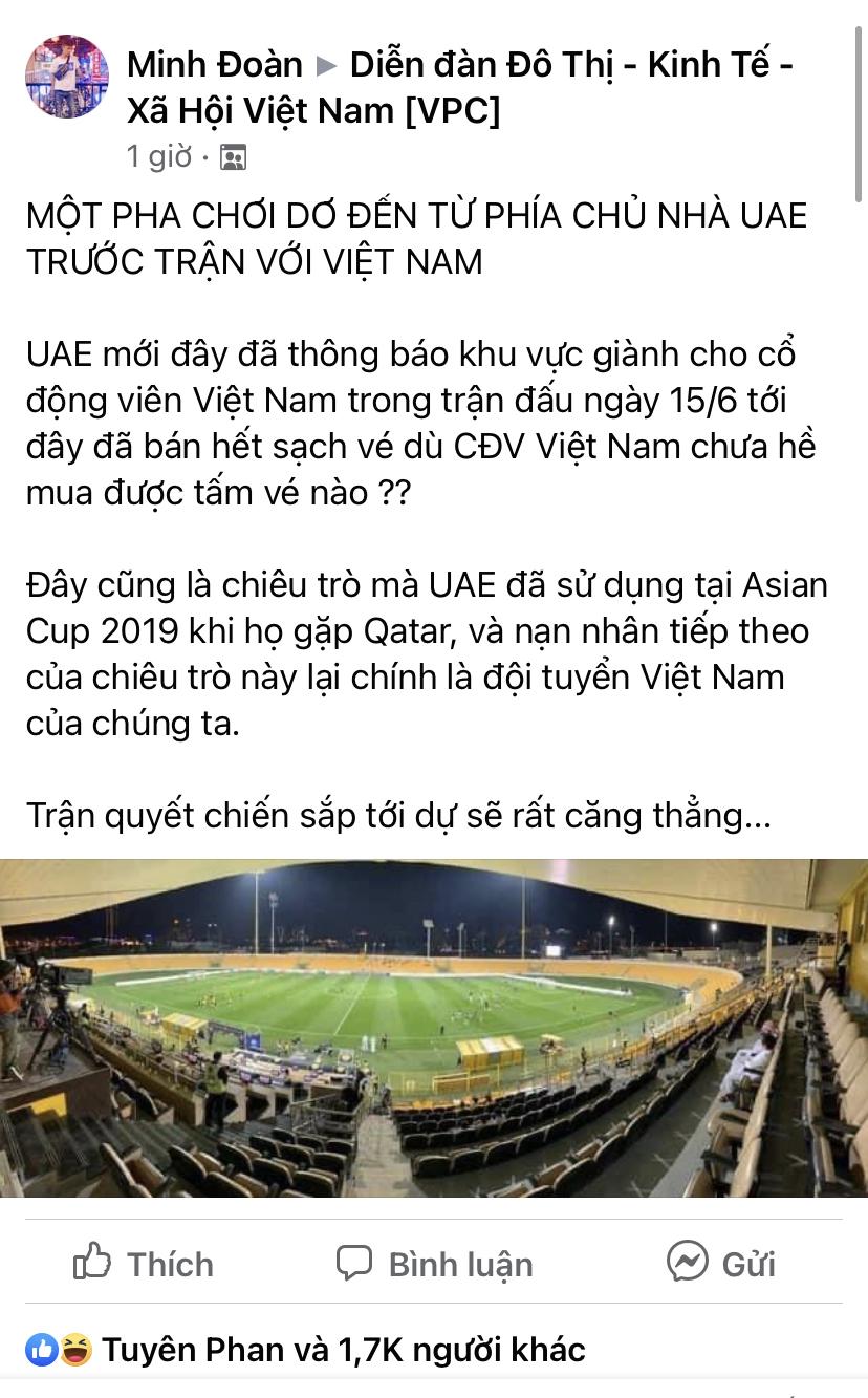 Cộng đồng mạng lo ngại cổ động viên không mua được vé xem trận UAE- Việt Nam