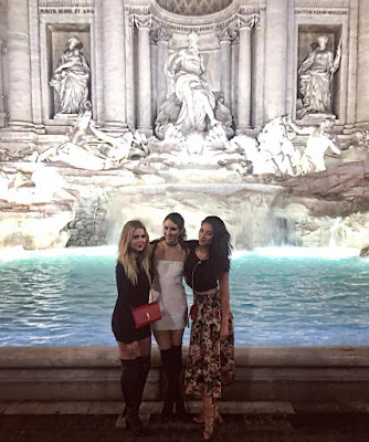 PLL actresses Troian Bellisario, Shay Mitchell and Ashley Benson at Trevi Fountain for Troian's bachelorette party #bellisariogetsbooted