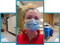 3 picture collage: Alynda in a face mask, privacy curtain in Alynda's hospital room, and air purifier in Alynda's hospital room
