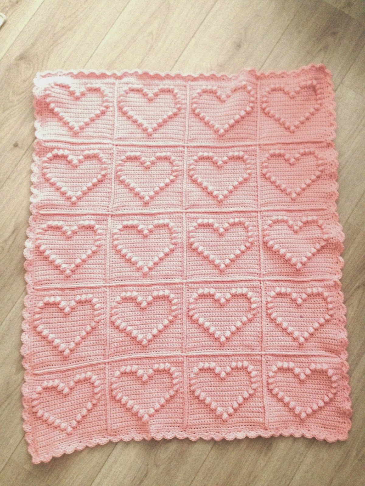 Angels Handmade Bobble Heart Blanket Vertaald Patroon