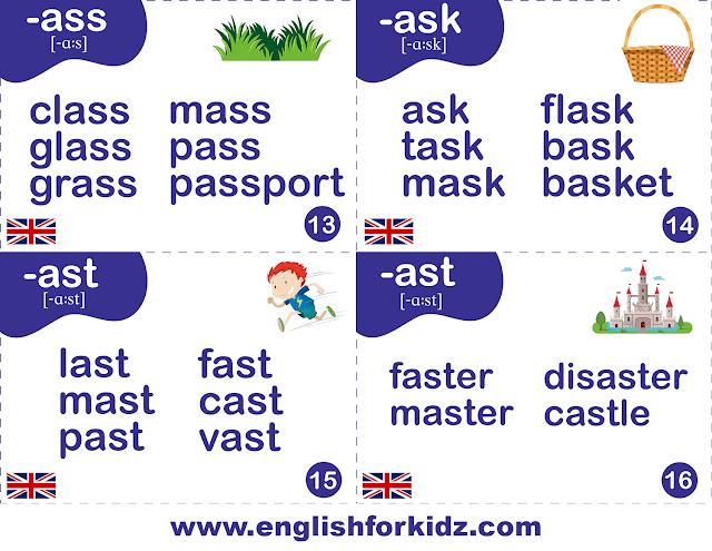 Phonics flashcards - British pronunciation