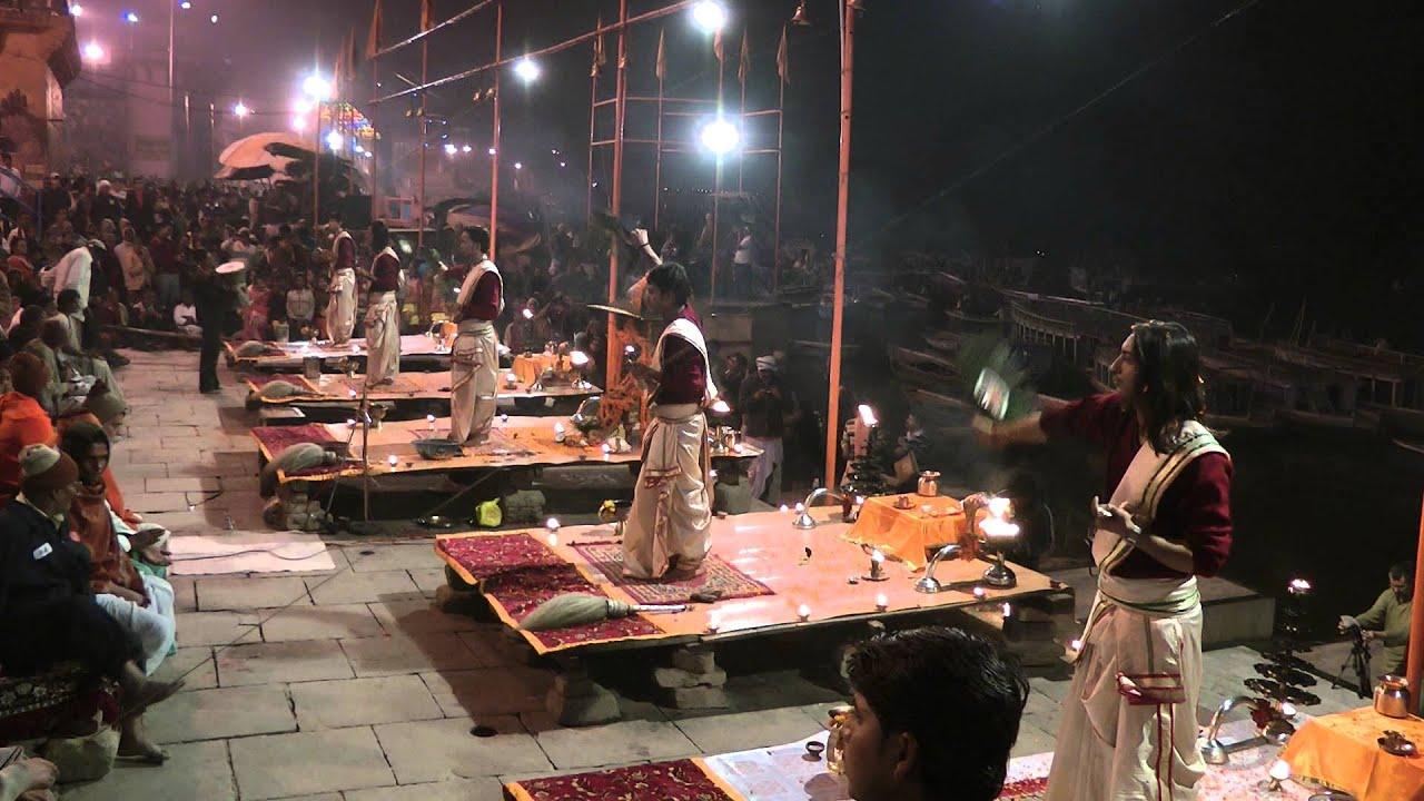 Церемония Арти в городе Варанаси, Индия