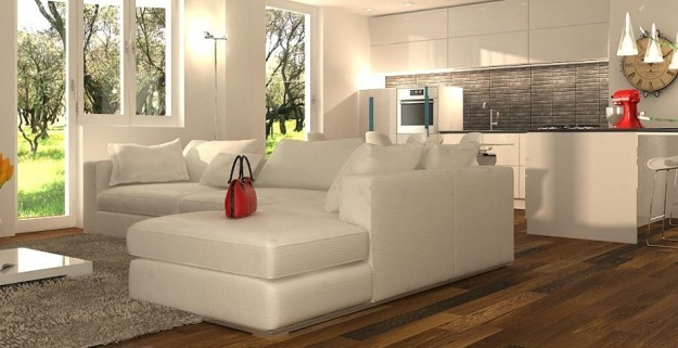 Decoraci n de salas modernas beige y crema colores en casa for Arredare un open space