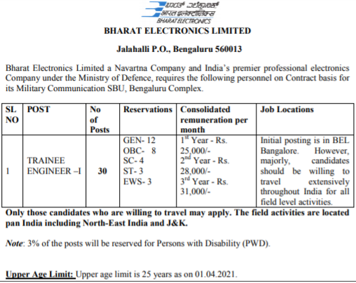 BEL Trainee Engineer Recruitment 2021 online registration form