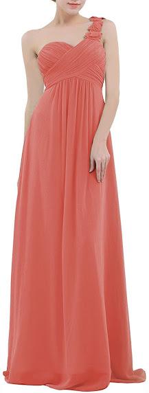 Strapless Coral Chiffon Bridesmaid Dresses