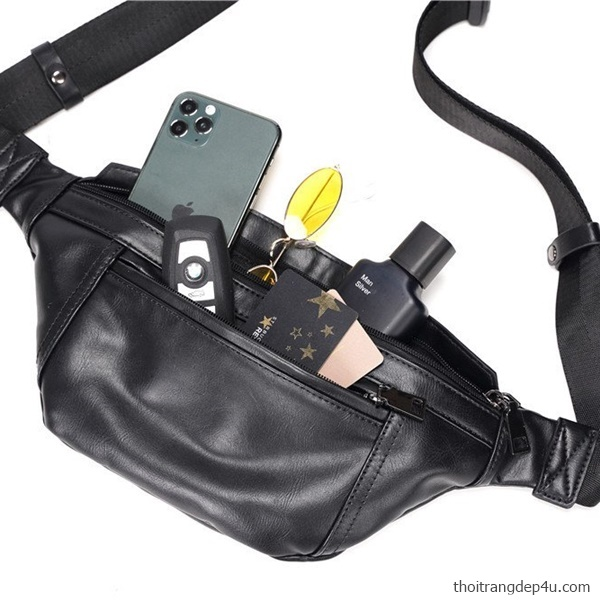 Túi bao tử đeo chéo da cao cấp thời trang nam BAM072