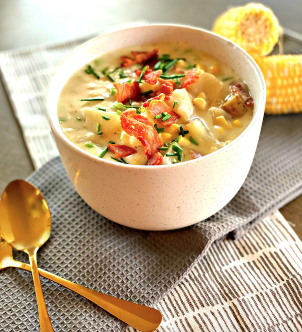 corn and bacon chowder in a bowl