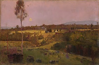 Evening when the quiet east flushes faintly at the sun's last look - Tom Roberts painting