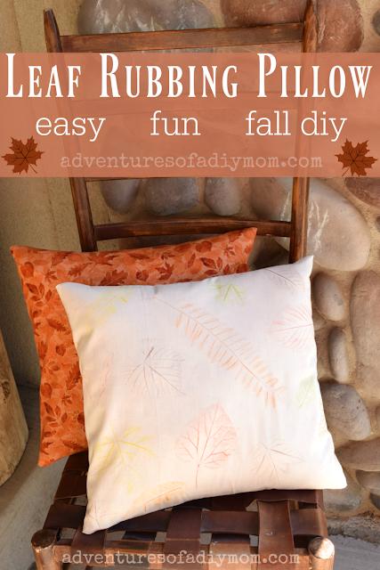 leaf rubbing pillow - easy fun, fall diy