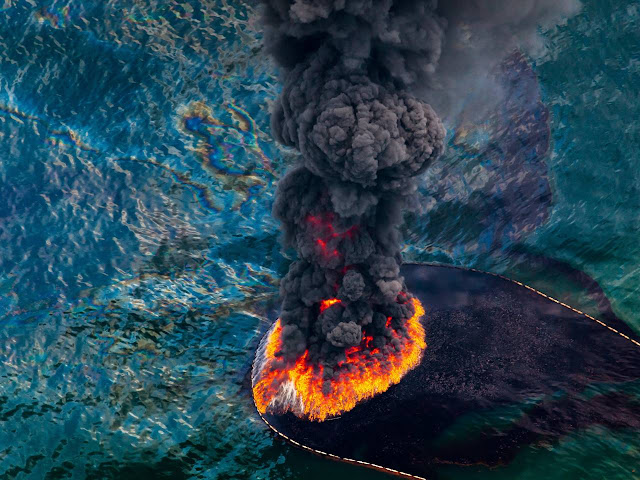 BP oil spill. A bathtub ring of oil the size of Rhode Island. Oil Upon Troubled Waters
