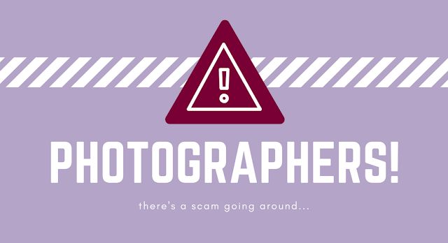 warning sign about a scam targeting photographers