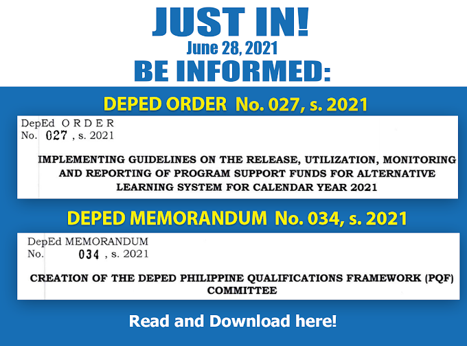 DepEd released new Deped Order No 027 and Memorandum 034 Series 2021 [Read and Download]