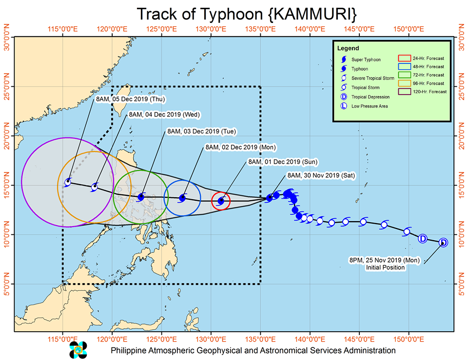 Latest track of Typhoon Kammuri (Tisoy)