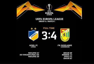 Η χειρότερη ήττα του ΑΠΟΕΛ, στην ιστορία του συλλόγου (ΑΠΟΕΛ 3-4 DUDELANGE)