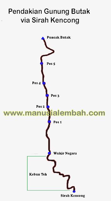 peta Pendakian Gunung Butak via Sirah Kencong