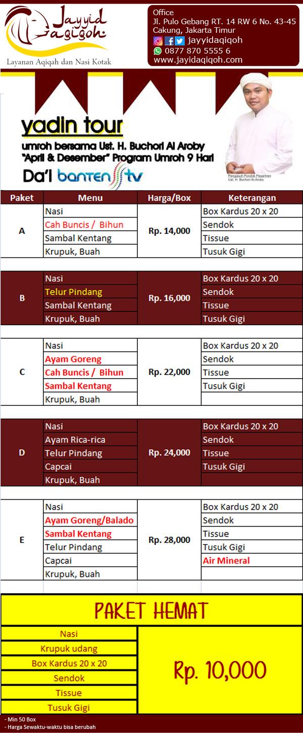 Harga Nasi BOX Jakarta