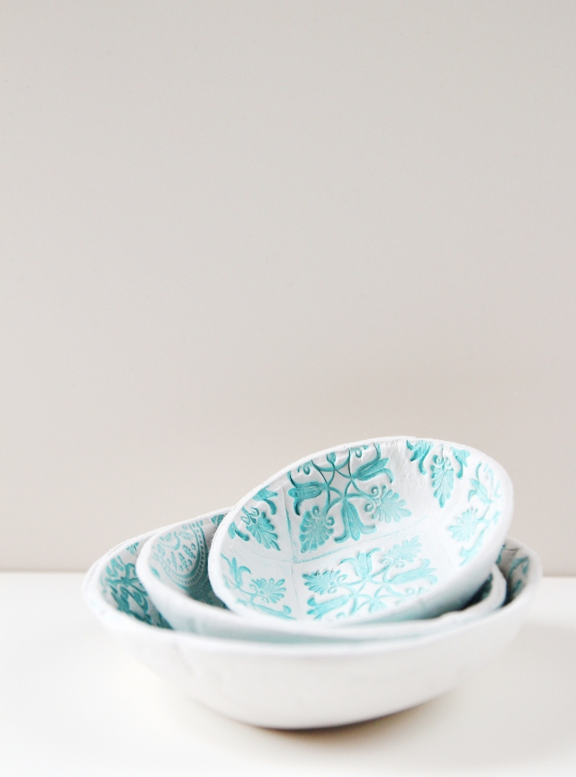 Diy Stamped Clay Bowls made from air dry clay