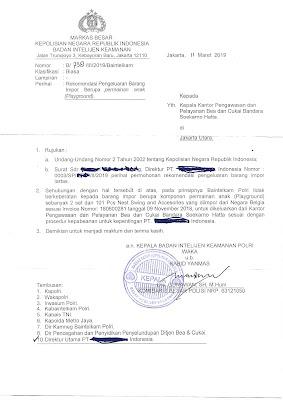 Contoh Surat Larangan dan Pembatasan (LARTAS)  Wajib Izin Import Dari POLRI