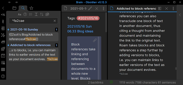 Show linked block-references Obsidian.md