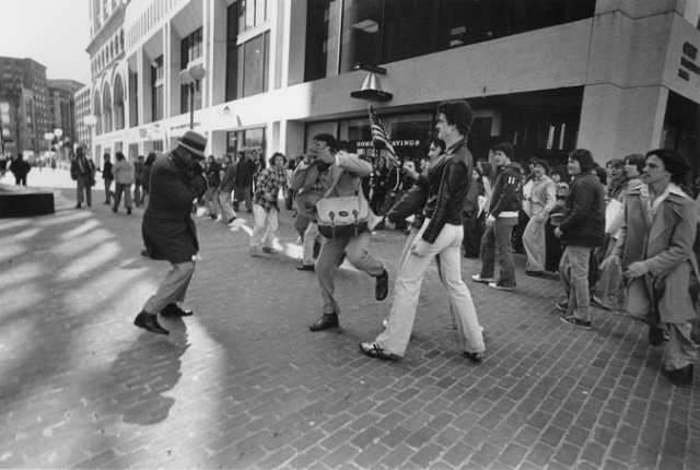 Photo of Ted Landsmark, 29-year-old, Yale-educated lawyer and civil rights activist being assaulted by protestors while heading to city hall for a meeting. Photo taken by Stanley Forman in 1976