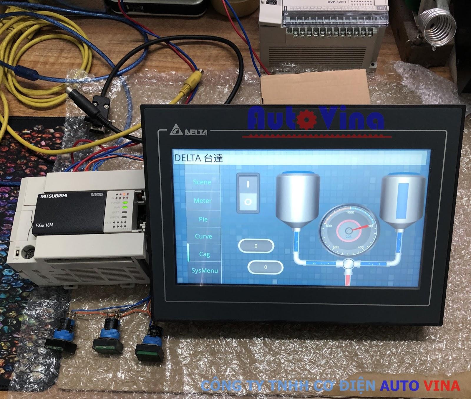 Hướng dẫn lập trình HMI Delta tự động hiển thị trang báo lỗi theo tín hiệu PLC Mitsubishi