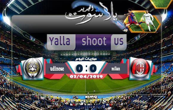 اهداف مباراة ميلان وأودينيزي اليوم 02-04-2019 الدوري الايطالي