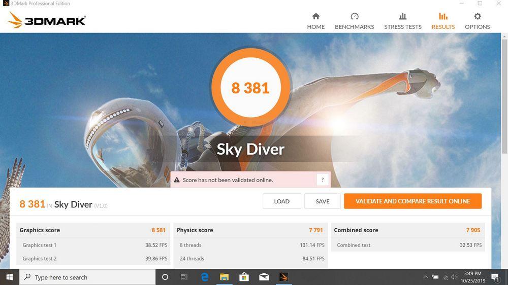 Benchmark 3DMark Sky Diver Asus ZenBook UM431DA