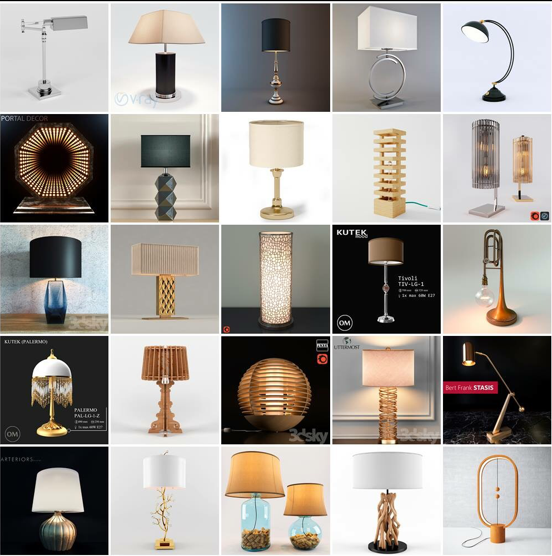 Table Lamp Collection Free Sketchup Models , sketchup models , 3d model sketchup , free sketchup models , 3d rendering , 3d modelling , sketchup vray render