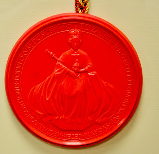The wax seal which is attached to the Royal Charter of the Worshipful Company of Engineers