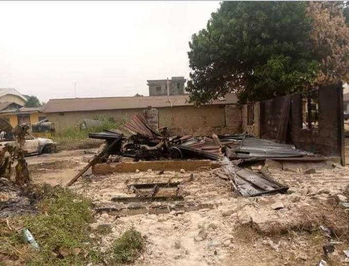 Photo galleries of Burnt Abayi Police Station Aba, Set Ablaze By Unknown Gunmen