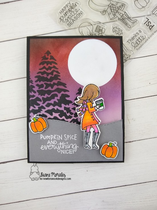 Pumpkin spice by Diane features Pumpkin Latte, Evergreens, and Land Borders by Newton's Nook Designs; #newtonsnook