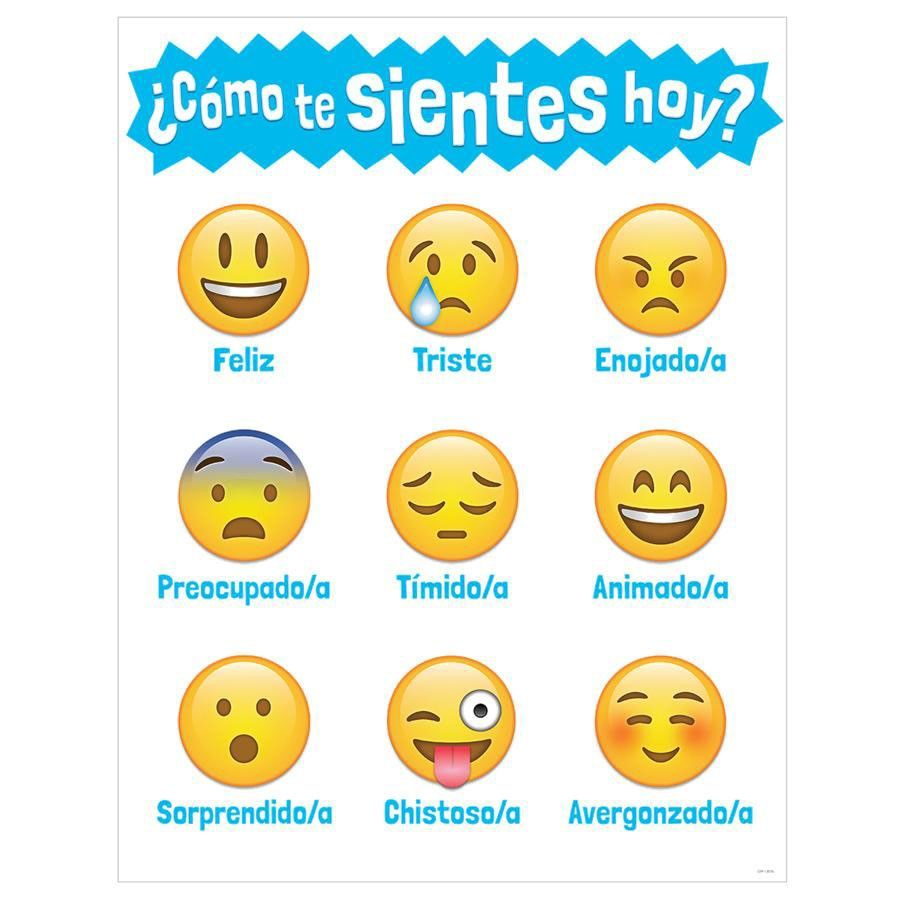 feelings chart for kids in spanish