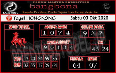 Prediksi Bangbona HK Sabtu 03 Oktober 2020
