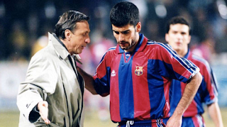 Johann Cruyff with Pep Guardiola
