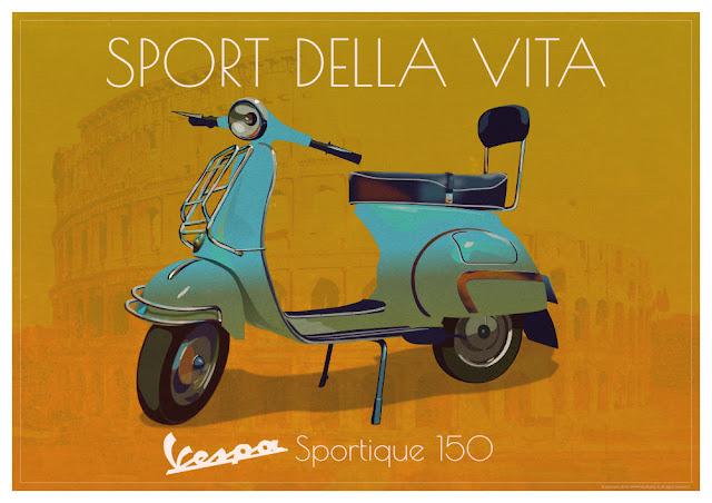 Vespa Sportique.  Cool and Original A1 Poster Print of the iconic Vespa GS Sportique