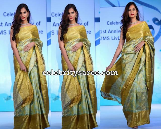 Model in Pastel Green Silk Saree