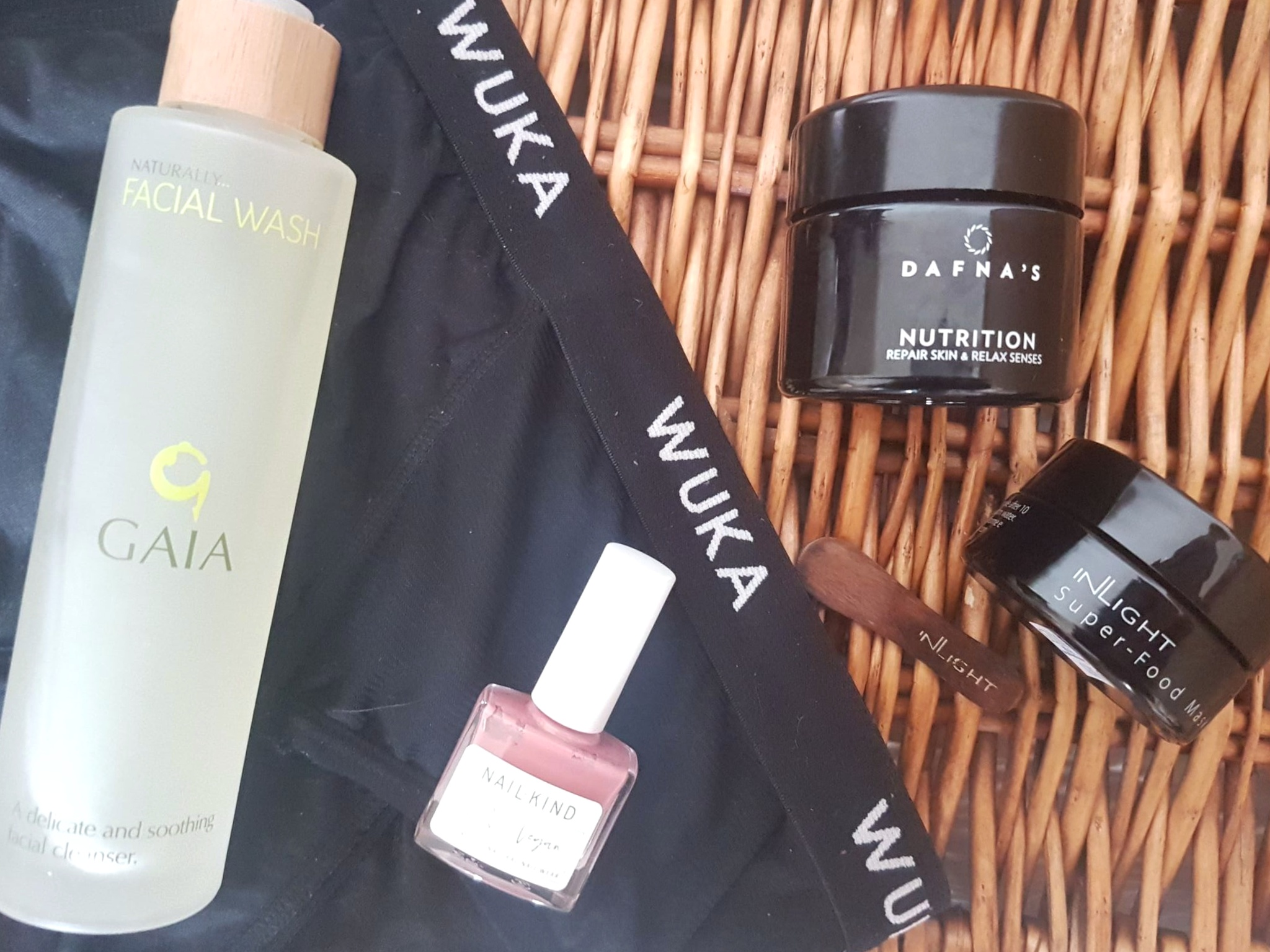 Wuka reusable period pants along with other Beauty Shortlist favourites like skincare from Gaia and Dafna's plus vegan nail polish from Nailkind