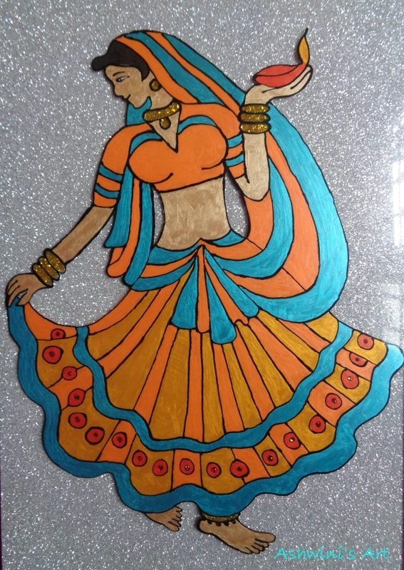 My painting dancing girl my kitchen flavours for Simple glass painting designs for beginners